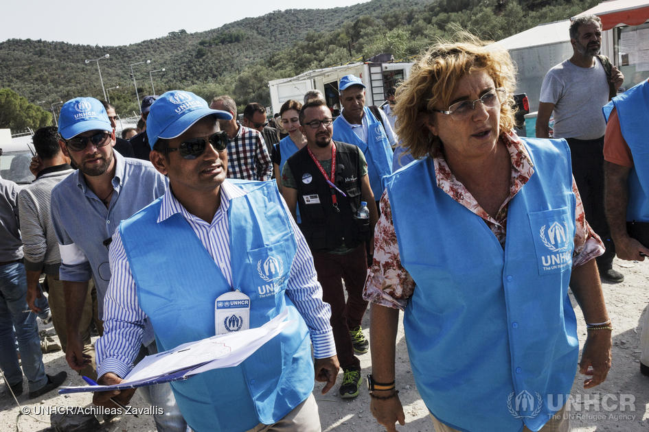 Greece. The UN High Commissioner for refugees Antonio Guterres visits Lesbos