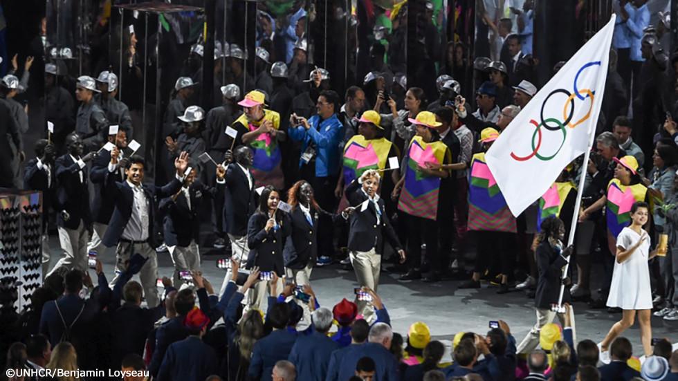 リオ五輪開会式に出席する五輪選手団
